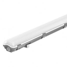 Διπλό Φωτιστικό Σκαφάκι Οροφής στεγανό Πλαστικό για 2 x 0,60m T8 λαμπτήρες LED SINGLE ENDED